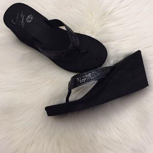 Colin Stuart Black Sequin Wedge Sandals